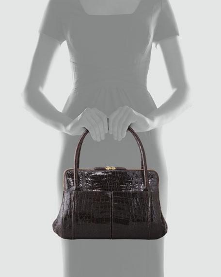 Linda Small Crocodile Satchel Bag, Chocolate