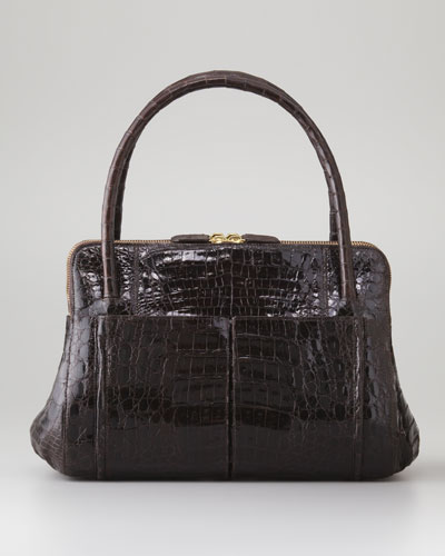 Linda Small Crocodile Satchel Bag, Chocolate