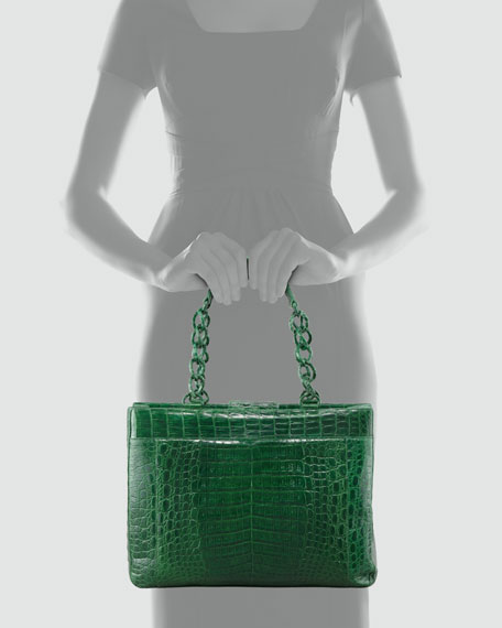Crocodile Chain-Strap Tote Bag, Shiny Green