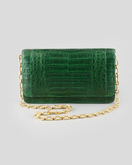 Crocodile Medium Chain-Strap Flap Clutch Bag, Green