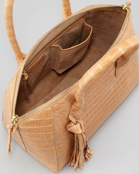 Small Crocodile Dome Tassel Bag, Beige