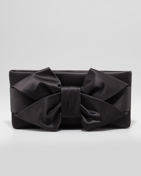 Satin Bow Clutch Bag, Black