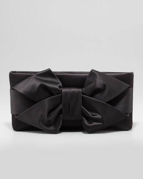 Satin Bow Clutch Bag, Black
