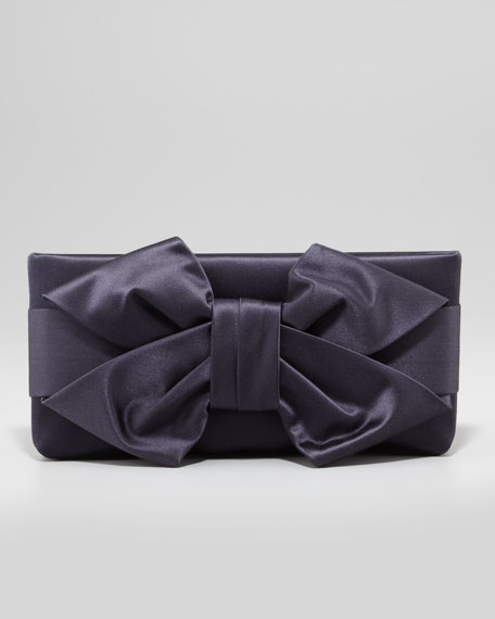 Satin Bow Clutch Bag, Navy