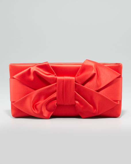 Satin Bow Clutch Bag, Red