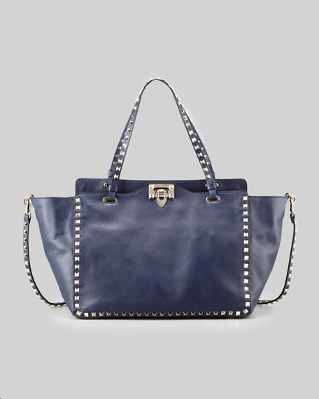 Rockstud Medium Vitello Tote Bag, Navy