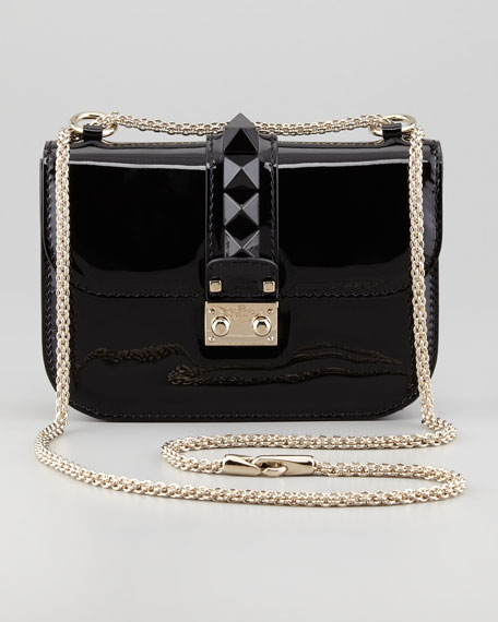 Punk Lock Mini Patent Stud Crossbody Bag, Black