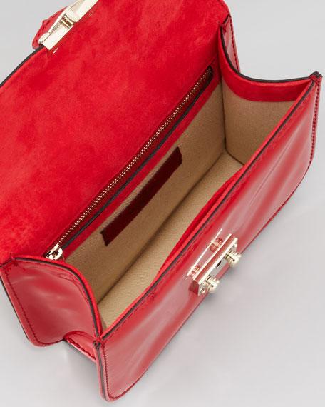 Punk Lock Mini Patent Stud Crossbody Bag, Red