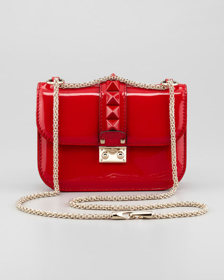 72708e8cd54 Valentino Punk Lock Mini Patent Stud Crossbody Bag, Red