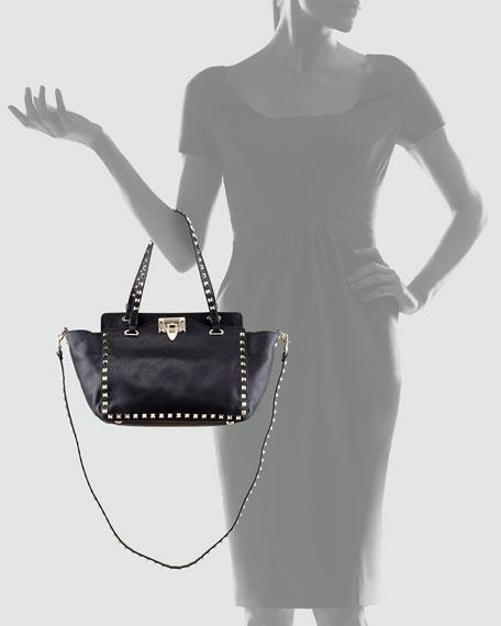 Rockstud Mini Crossbody Tote Bag, Black