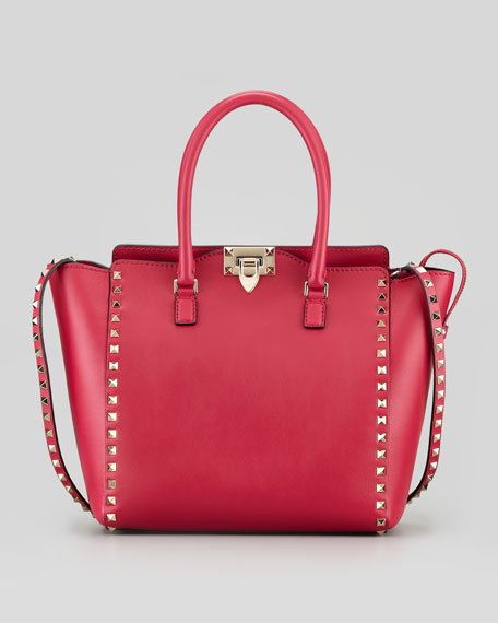 Rockstud Double-Handle Shopper Tote Bag, Pink