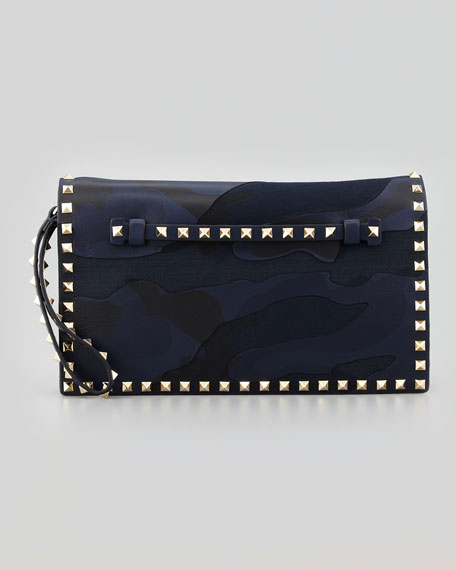 Rockstud Camouflage Clutch Bag, Blue