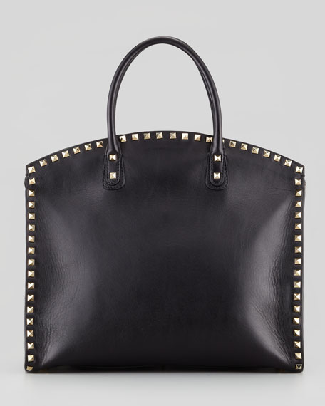 Rockstud Exec Dome Vitello Tote Bag, Black