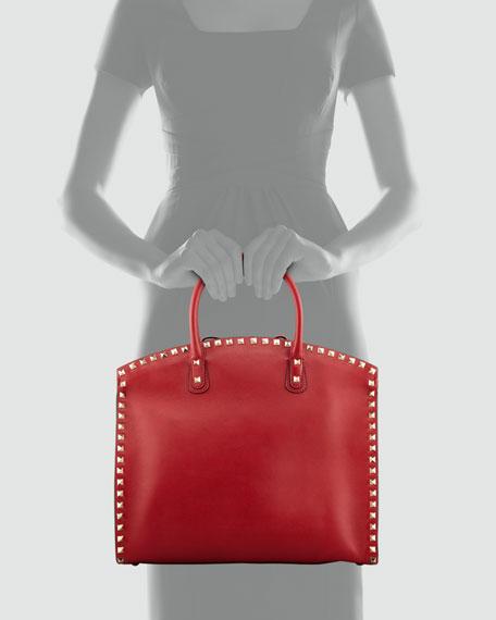 Rockstud Exec Dome Vitello Tote Bag, Red