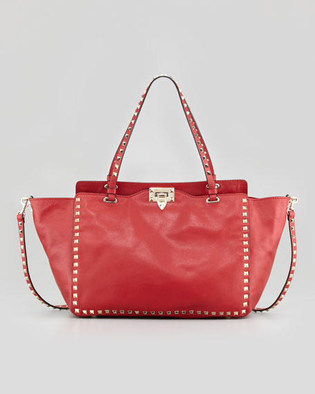 Rockstud Medium Tote Bag, Red