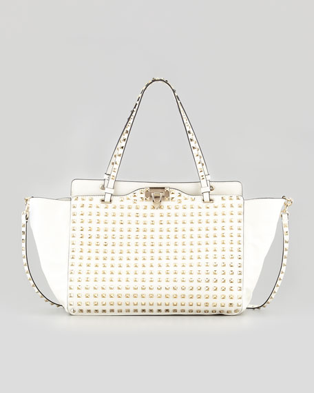 Rockstud Allover Medium Tote Bag, Ivory