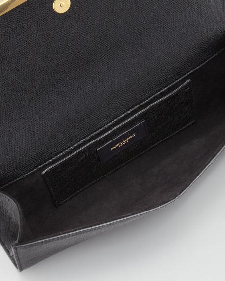 Lutetia Flap Clutch Bag, Black