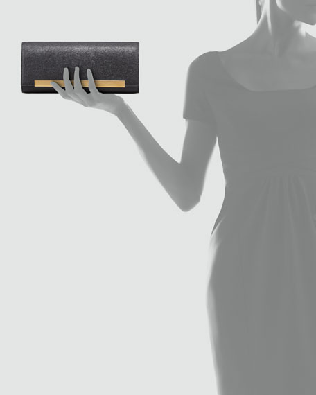 Lutetia Flap Clutch Bag, Black