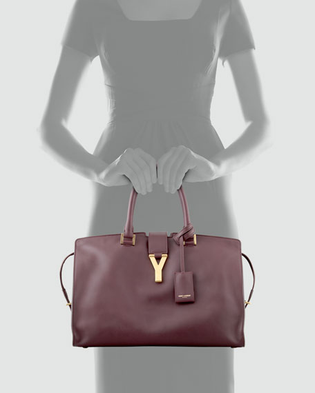 Y Ligne Cabas Medium Tote Bag, Bordeaux
