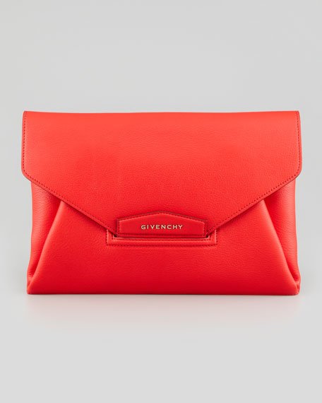Antigona Sugar Envelope Clutch Bag, Red