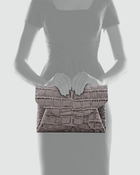Antigona Crocodile-Stamped Envelope Clutch Bag, Medium Gray