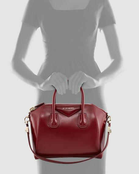 Antigona Small Shiny Box Satchel Bag, Burgundy