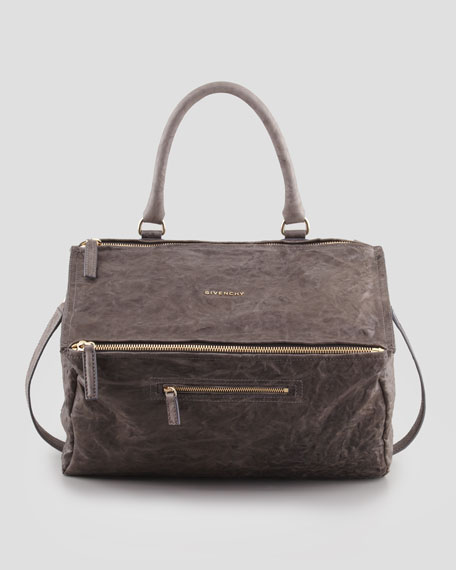 Pandora Large Pepe Sheepskin Satchel Bag, Gray