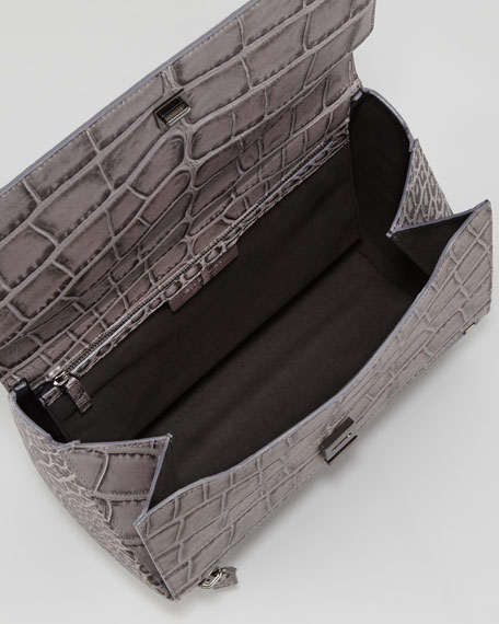 Pandora Medium Crocodile-Stamped Box Bag, Medium Gray