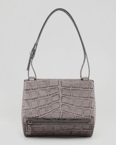 Pandora Medium Crocodile-Stamped Box Bag, Medium Gray