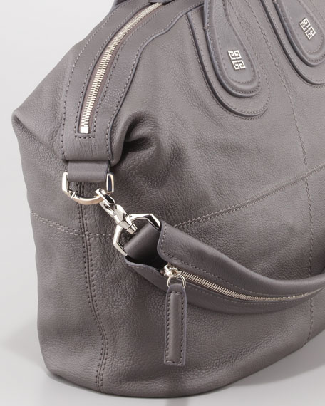 Nightingale Medium Sugar Goatskin Satchel Bag, Medium Gray
