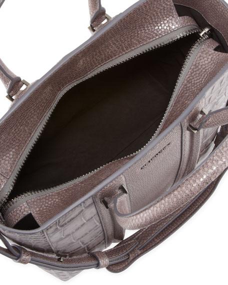 Lucrezia Medium Crocodile-Stamped Tote Bag, Medium Gray