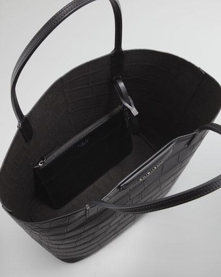 Antigona Medium Crocodile-Stamped Shopper Bag, Black