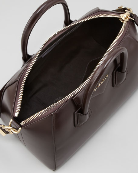 "Antigona Medium Shiny ""Box"" Bag, Dark Brown"