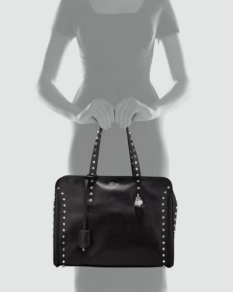 Studded Padlock Tote Bag, Black