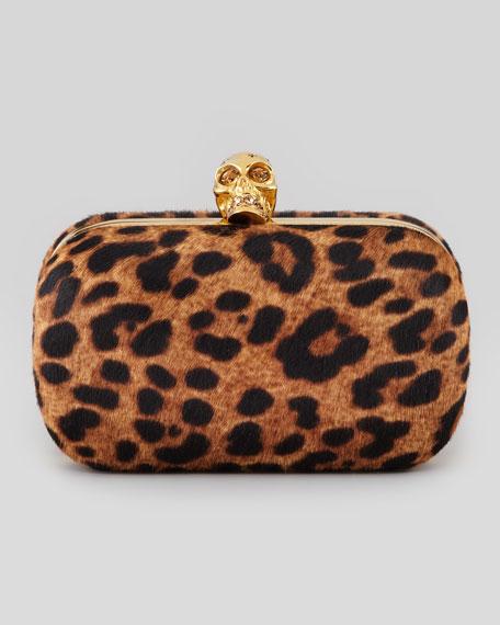 Leopard-Print Calf Hair Clutch Bag