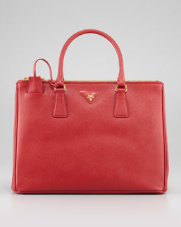Saffiano Small Double-Zip Executive Tote Bag, Red