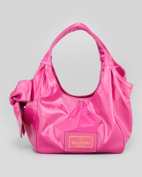 Valentino Nuage Medium Lacquered Bow Hobo Bag, Med Pink 9b20e51a0d