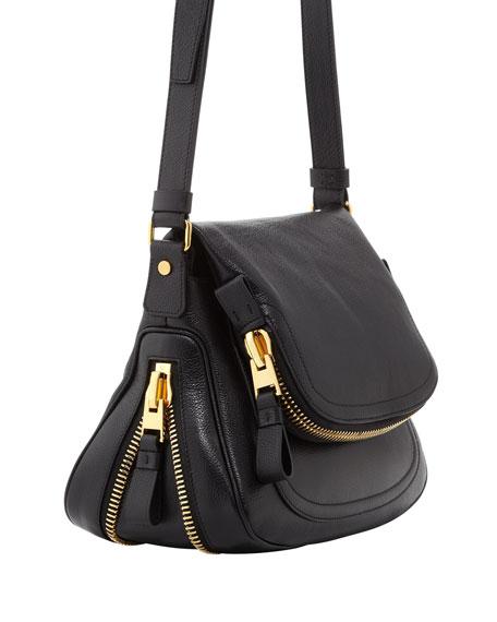 Medium Adjustable-Strap Flap Messenger Bag, Black