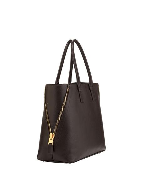 Jennifer Trap Leather Tote Bag, Brown