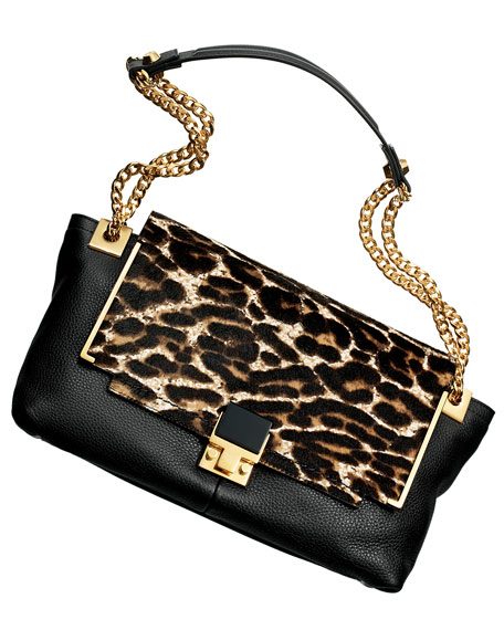 Partition Leopard-Print Calf Hair Shoulder Bag