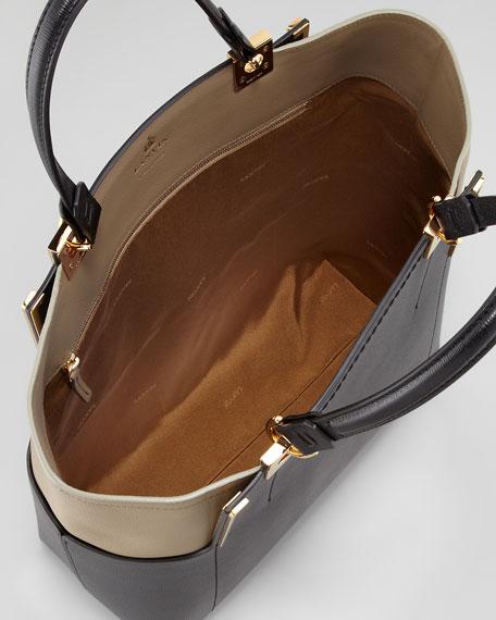 Partition North-South Shopper Tote bag, Black/Olive