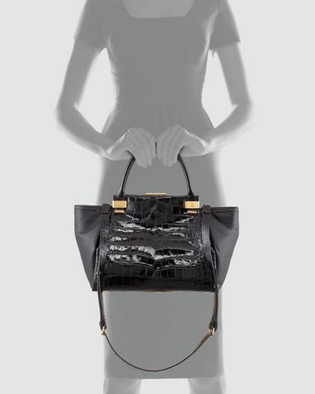 Trilogy Medium Crocodile-Stamped Tote Bag, Black