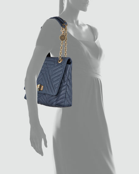 Happy Medium Quilted Calfskin Bag, Navy