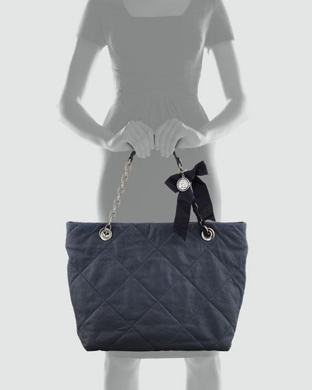 Amalia Lambskin Cabas Tote Bag, Navy
