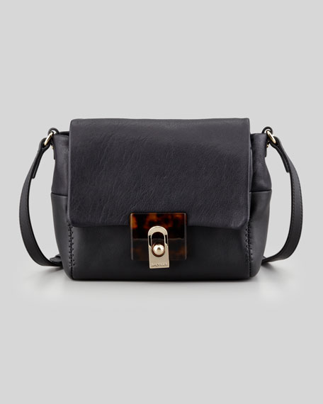 For Me Mini Calfskin Crossbody Bag, Navy/Black