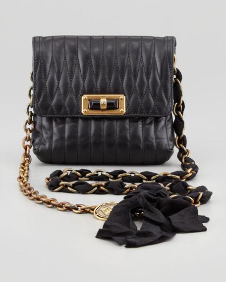Happy Mini Pop Quilted Crossbody Bag, Black
