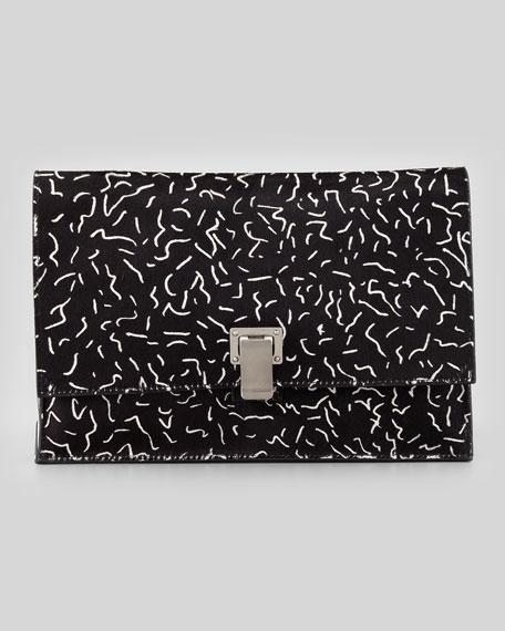 Small Printed Calf Hair Lunch Bag Clutch, Black