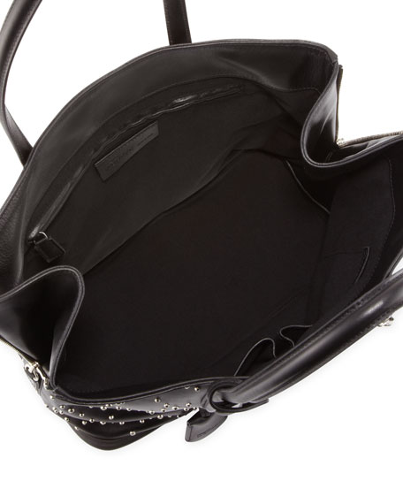New Padlock Small Studded Shopper Bag, Black