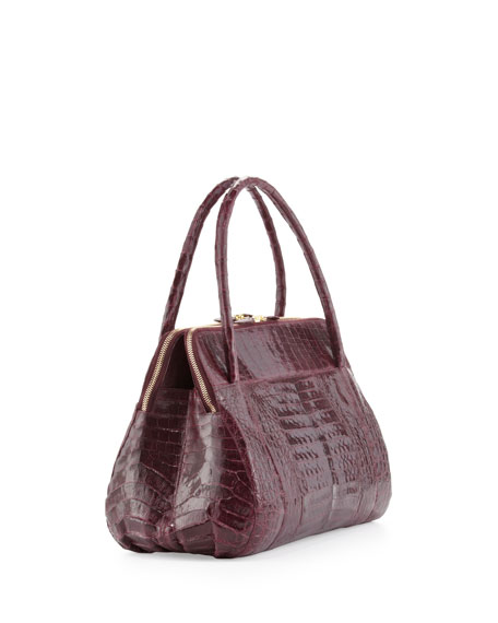 Linda Medium Crocodile Satchel Bag, Burgundy