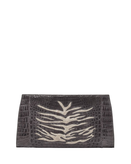 Razor Zebra-Print Crocodile Clutch Bag, Charcoal
